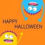 Glückliche Halloween-Karte Schreiender Kopf-Schattenbildsatz des Monsters zwei Hängen umgedreht Augen, Zähne, Zunge, Hände Lustig vektor abbildung