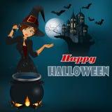 Glückliche Halloween-Mitteilung, grafischer Hintergrund mit Hexe und Mondscheinszene Stockbilder