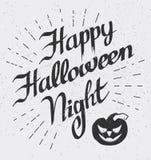 Glückliche Halloween-Nacht: Karte mit Vektorkürbis Stockfotos