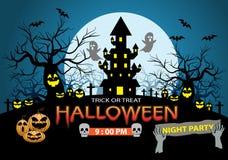 Glückliche Halloween-Nachtpartei-Feiertagsfeier auf blauem Designplakatvektor Lizenzfreie Stockfotografie