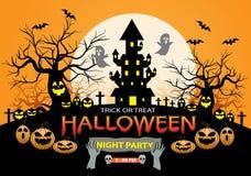 Glückliche Halloween-Nachtpartei-Feiertagsfeier auf orange Designplakatvektor Stockfotografie