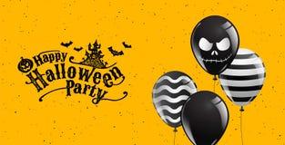 Glückliche Halloween-Partei, Kalligraphie, Fahne, Geist, furchtsam, gespenstisch, Luftballone, Schablone Vektorillustration Lizenzfreies Stockfoto