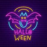 Glückliche Halloween-Parteileuchtreklame Helle helle Fahne Lizenzfreie Stockbilder