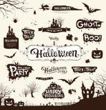 Glückliche Halloween-Tagesschattenbildsammlungen Stockfoto