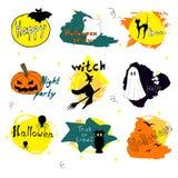 Glückliche Halloween-Tagesschattenbildsammlungen entwerfen, vector Illustration Stockbilder