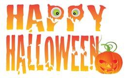 Glückliche Halloween-Text-Vektor-Illustration Lizenzfreie Stockbilder