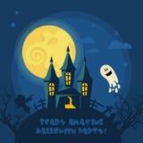 Glückliche Halloween-Vektorgrußkarte mit Halloween-Mond und -geist Lizenzfreies Stockbild
