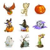 Glückliche Halloween-Vektorikonen Lizenzfreie Stockfotos