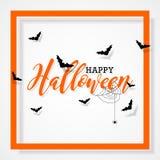 Glückliche Halloween-Vektorillustration mit Schlägern und Spinne auf schwarzem Hintergrund Feiertagsdesign für greting Karte, Pla Lizenzfreies Stockfoto