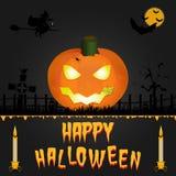 Glückliche Halloween-Vektorkarte Kunstillustration Stockbild