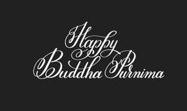 Glückliche Hand Buddhas Purnima geschrieben, Aufschrift beschriftend Lizenzfreie Stockfotografie
