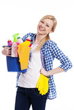 Glückliche Hausfrau lizenzfreies stockbild