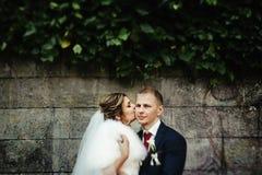 Glückliche herrliche blonde Braut und stilvoller hübscher Bräutigam mit wahrem Lizenzfreie Stockfotos