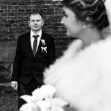 Glückliche herrliche blonde Braut und stilvoller hübscher Bräutigam mit wahrem Stockbild