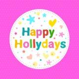 Glückliche Holydays-Karte Karikatur getrennter Baum auf weißem Hintergrund Lizenzfreies Stockfoto