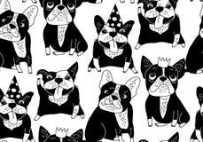 Glückliche Hunde gruppieren nahtloses Muster des Schwarzen der französischen Bulldogge Stockfotos