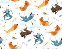 Glückliche Hunde und Hündchen-Lebensmittel-nahtloses Muster Lizenzfreies Stockfoto