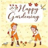 Glückliche im Garten arbeitende nette Paar-Gruß-Karte Lizenzfreie Stockfotos