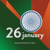 Glückliche indische Feier des Tages der Republik am 26. Januar ehrt das Datum, auf dem die Konstitution von Indien Plakat oder Fa lizenzfreie abbildung
