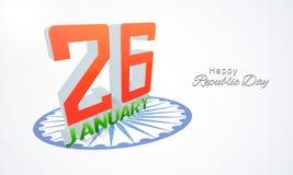 Glückliche indische Tag der Republik-Feier mit Text 3D Lizenzfreie Stockbilder