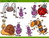 Glückliche Insekten stellten Karikaturillustration ein lizenzfreie abbildung