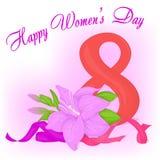 Glückliche internationale Frauen ` s Tagesgrußkarte mit Bändern und Lilie Gelbe und rote Farben Lizenzfreies Stockbild
