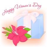 Glückliche internationale Frauen ` s Tagesgrußkarte mit Geschenk und Lilie Feiertagshintergrund-, -plakat- oder -plakatschablone  Stockbilder