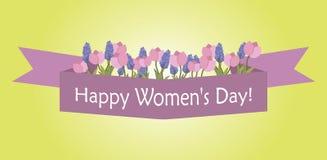 Glückliche internationale Frauen ` s Tageskarte Stockfoto