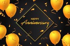 Glückliche Jahrestags-Ballon-Typografie-Fahnen-Hintergrund-Illustrations-Plakat-Design-Schablonen-Geburtstags-Feier für Gruß-Kart lizenzfreie abbildung