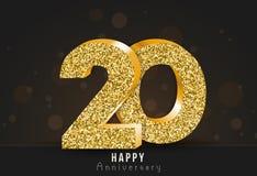 20 - glückliche Jahrestagsfahne des Jahres 20. Jahrestagsgoldlogo auf dunklem Hintergrund Stockfotografie