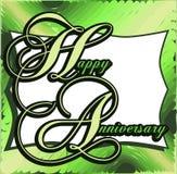 Glückliche Jahrestagsgrußkarte mit Blättern Stockfoto