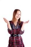 Glückliche jugendlich Mädchenaufstellung Lizenzfreie Stockfotografie