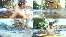 Glückliche Jugendliche, die im Pool - Collage schwimmen stock video footage