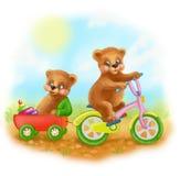 Glückliche junge Bären der Illustrationskarikatur reiten ein Fahrrad Stockbild