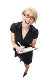 Glückliche junge blonde Geschäftsfrau Stockbilder