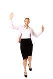 Glückliche junge blonde Geschäftsfrau Stockbild