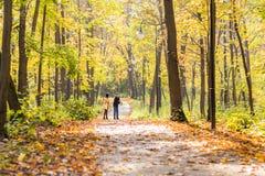 Glückliche junge Familie, die hinunter die Straße draußen in der Herbstnatur geht Stockfotografie