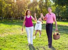 Glückliche junge Familie, die Picknick an der Wiese hat lizenzfreie stockfotografie