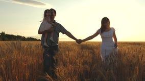 Glückliche junge Familie mit einem Kind geht auf ein Weizenfeld Vatertochter und -mutter spielen auf dem Feld Mama-Mutter stock footage