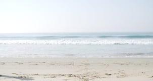 Glückliche junge Frau, die auf den Strand springt stock video footage
