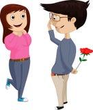 Glückliche junge Frau, die auf ihren Freund wartet, um am Valentinstag zu überraschen vektor abbildung