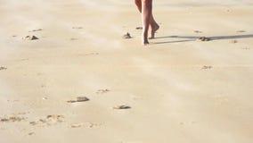 Glückliche junge Frau, die auf Strand springt stock video