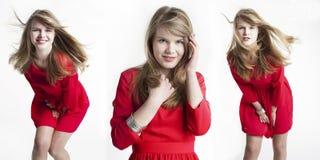 Glückliche junge Frau, die in der Bewegung aufwirft Stockfoto