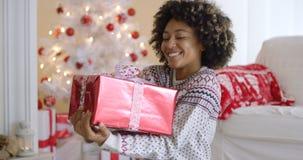 Glückliche junge Frau, die ein Weihnachtsgeschenk hält Lizenzfreie Stockfotos