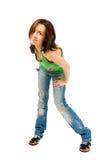 Glückliche junge Frau getrennt auf weißem Hintergrund Lizenzfreie Stockfotografie