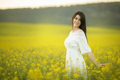 Glückliche junge Frau mit Blumenstrauß von Wildflowers auf dem gelben Gebiet im Sonnenuntergang beleuchtet, Sommerzeit Lizenzfreie Stockfotografie