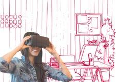 glückliche junge Frau mit Gläsern 3D überschneiden mit roten Linien des Büros Stockfoto