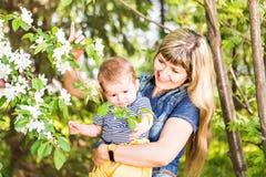 Glückliche junge Frau und kleiner Sohn im blühenden Frühling arbeiten im Garten Muttertagesfeiertagskonzept lizenzfreies stockbild