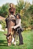 Glückliche junge Frauen, die folgendes Pferd auf Ranch stehen stockfotografie
