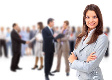 Glückliche junge Geschäftsfrau lizenzfreie stockfotos